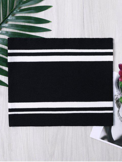 Top de tubo de punto con rayas de dos tonos - Negro Blanco S Mobile