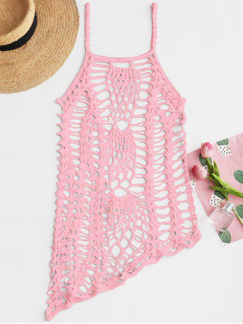 shops Crochet Beach Slip Dress Cover Up - PINK ONE SIZE Mobile