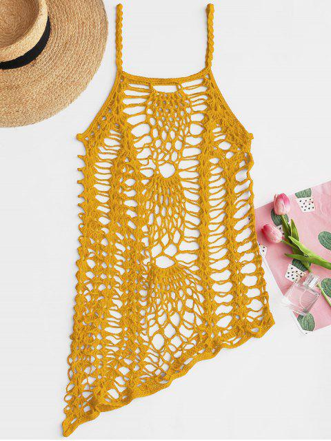latest Crochet Beach Slip Dress Cover Up - YELLOW ONE SIZE Mobile