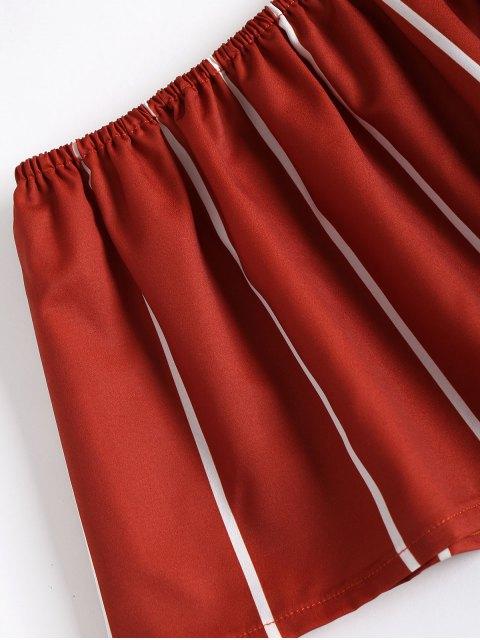 ZAFUL Ensemble De Haut Rayé Sans Bretelle Avec Pantalon Fendu - Châtaigne Rouge S Mobile