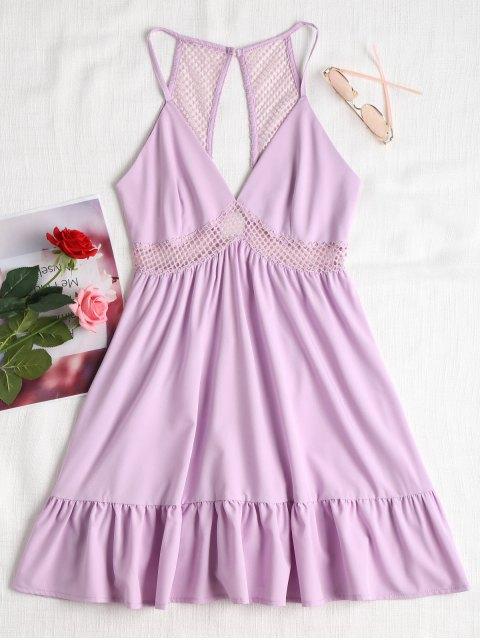ladies Lattice Eyelet Ruffle Mini Dress - PERIWINKLE M Mobile