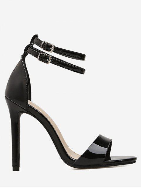 latest Double Ankle Strap Stiletto High Heel Sandals - BLACK 39 Mobile