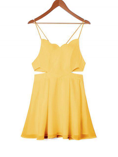 Vestido de oscilación lateral festoneado - Amarillo M Mobile