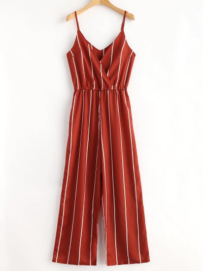 Striped Surplice Cami Jumpsuit - Chestnut Red S