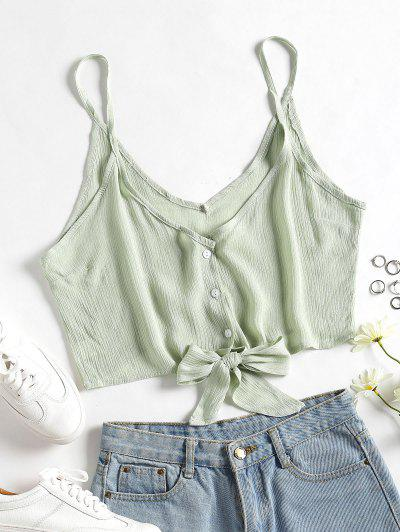Cropped Button Up Tie Tank Top - Light Jade L