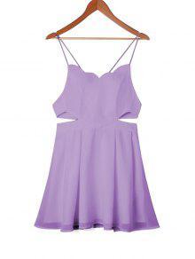 فستان سوينغ ذو فتحات - ضوء ارجواني Xl