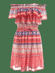 3ef6f21246a 65% OFF  2019 Ruffled Off The Shoulder Sun Dress In MULTI S