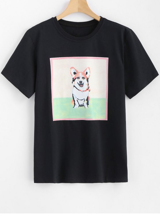 lady Dog Printed Longline Tee - BLACK L