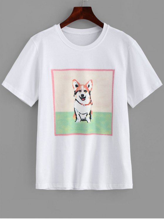 online Dog Printed Longline Tee - WHITE M