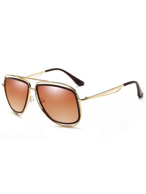 Gafas de sol de metal de marco completo con barra transversal - Marco de Oro + Marrón Oscuro