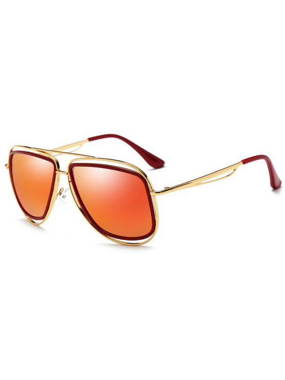 outfits Metal Full Frame Crossbar Driver Sunglasses - GOLD FRAME + RED LENS