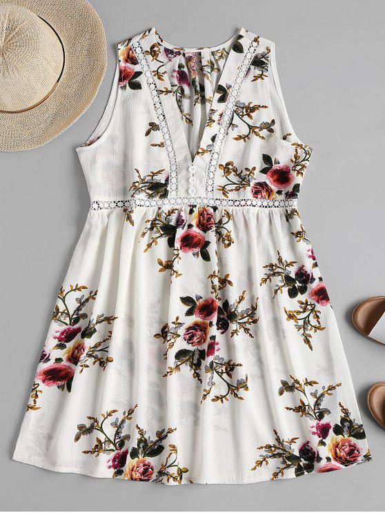 Floral Print Mini A Line Dress - Branco S