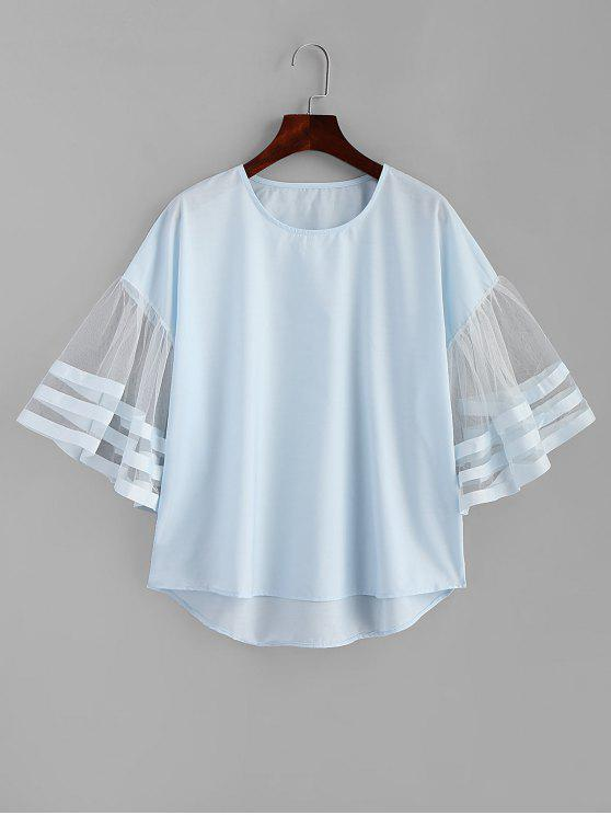 women's Striped Tulle Sleeve Top - LIGHT BLUE S