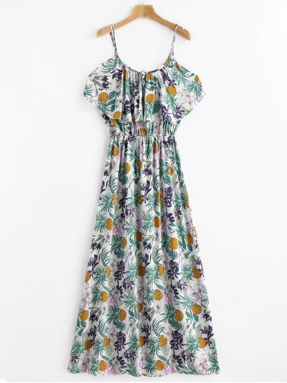 فستان مريح الباردةطباعة الاستوائية - متعدد M