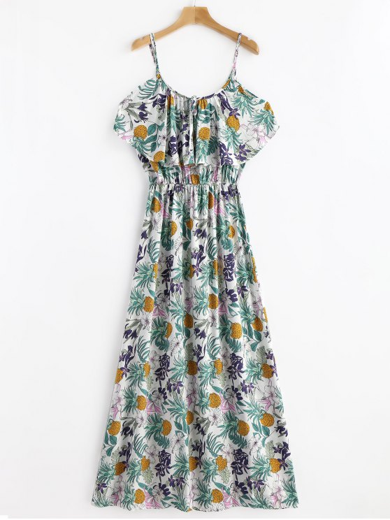 fashion Tropical Print Cold Sholder Maxi Vacation Dress - MULTI S
