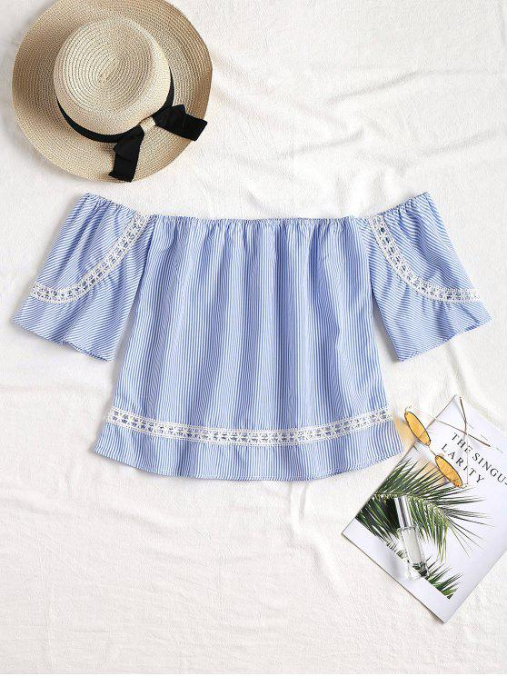 affordable Striped Lace Trim Off The Shoulder Top - BLUE S