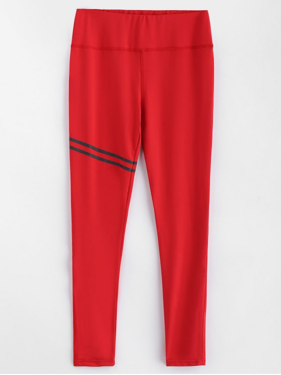 new Striped High Waist Leggings - RED M