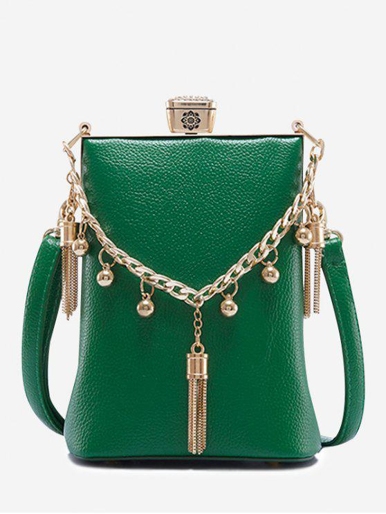 latest PU Leather Tassel Metal Detail Crossbody Bag - GREEN