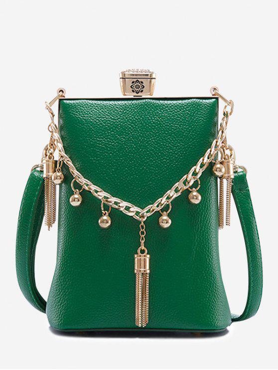 حقيبة من الجلد مزينة بشراشيب - أخضر