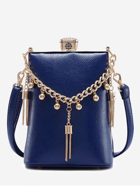 حقيبة من الجلد مزينة بشراشيب - أزرق