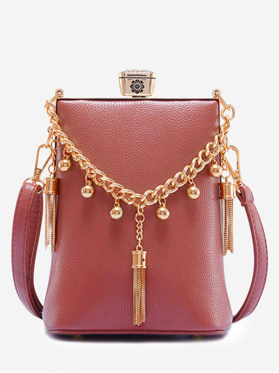 chic PU Leather Tassel Metal Detail Crossbody Bag - BEAN RED