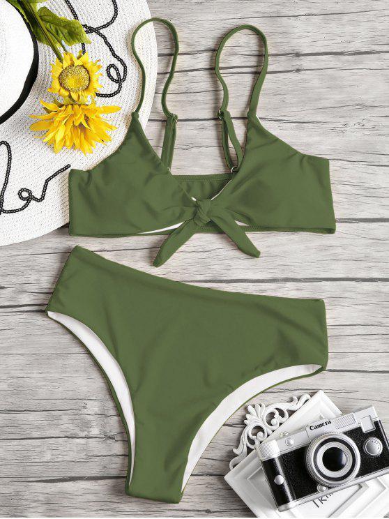 Knoten Gepolstertes Bikini Set - Rehbraunes Grün M
