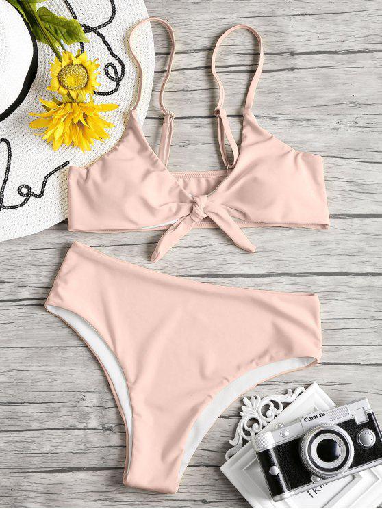 fashion Knot Padded Bikini Set - PINK L