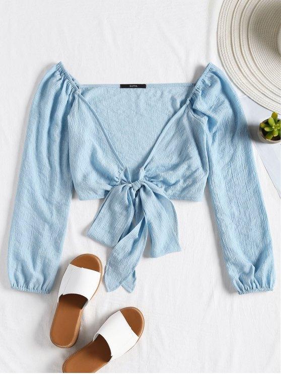Blusa de colheita de bowknot amarrada ao pescoço - Azul claro S