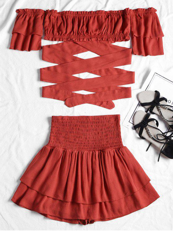 outfits Off Shoulder Smocked Two Piece Skirt Set - RED L
