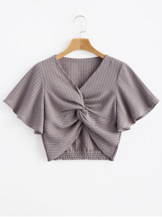 hot Striped Twisted Butterfly Sleeve Crop Top - GRAY CLOUD S