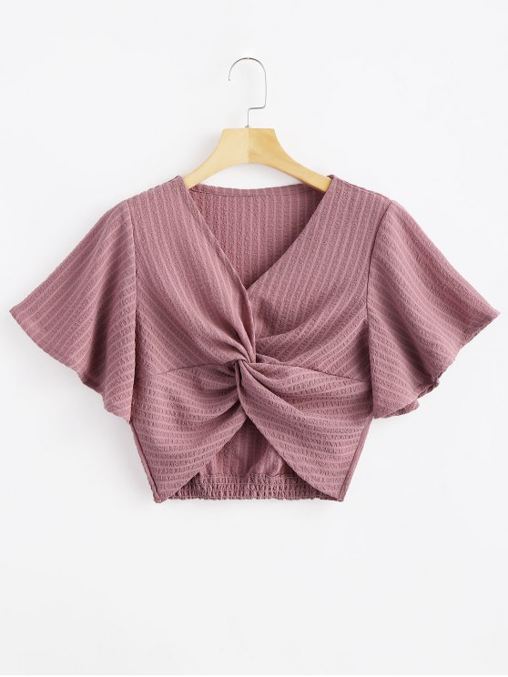 lady Striped Twisted Butterfly Sleeve Crop Top - TULIP PINK S