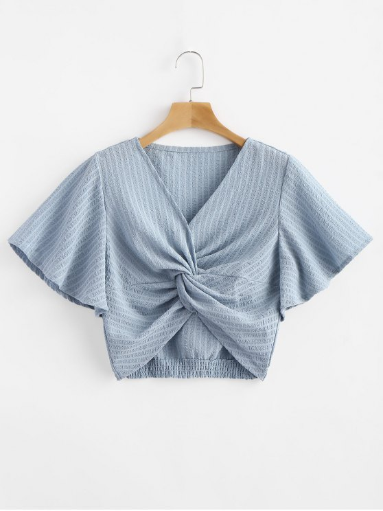 1e56fcbf720 19% OFF] 2019 Striped Twisted Butterfly Sleeve Crop Top In LIGHT ...
