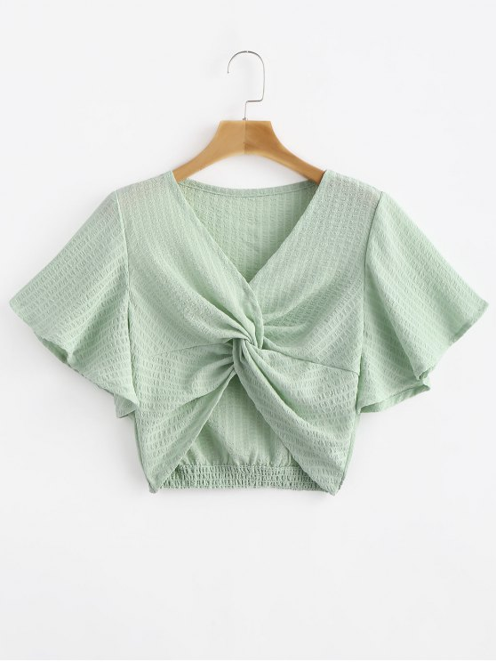 fashion Striped Twisted Butterfly Sleeve Crop Top - GREEN THUMB S