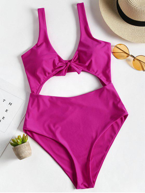 trendy Bow Front Cut Out One Piece Swimsuit - DEEP PINK M