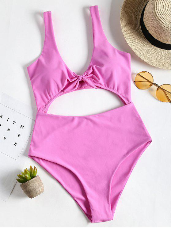 shop Bow Front Cut Out One Piece Swimsuit - PINK M
