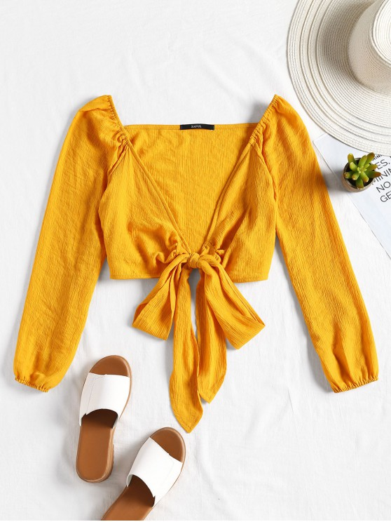 shop Plunging Neck Tied Bowknot Crop Blouse - YELLOW L