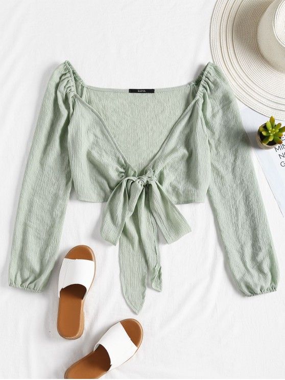 sale Plunging Neck Tied Bowknot Crop Blouse - LIGHT GREEN S