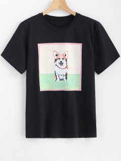 Dog Printed Longline Tee - Black M