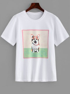 Dog Printed Longline Tee - White L