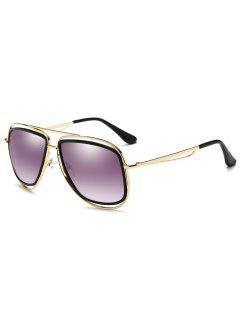 Metal Full Frame Crossbar Driver Sunglasses - Gold Frame + Purple Lens