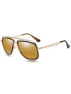 Gafas De Sol De Metal De Marco Completo Con Barra Transversal - Dorado + Lujo De Oro Color