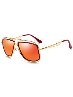 Metal Full Frame Crossbar Driver Sunglasses - Gold Frame + Red Lens