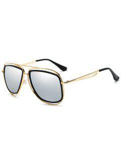 Gafas De Sol De Metal De Marco Completo Con Barra Transversal - Marco De Oro + Lente De Plata