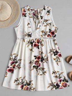 Floral Print Mini A Line Dress - White L