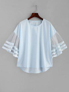 Striped Tulle Sleeve Top - Light Blue M