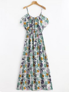 Tropical Print Cold Sholder Maxi Vacation Dress - Multi L