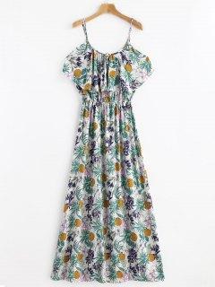 Tropical Print Cold Sholder Maxi Vacation Dress - Multi S