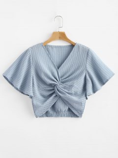 Striped Twisted Butterfly Sleeve Crop Top - Light Blue L