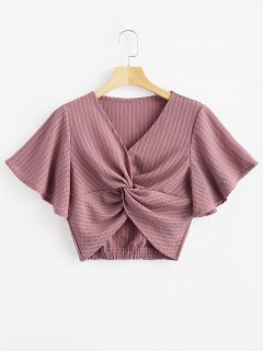 Striped Twisted Butterfly Sleeve Crop Top - Tulip Pink S