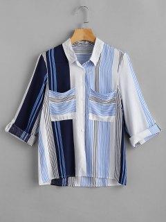 Camisa A Rayas De Bolsillo Con Parche - Multicolor M